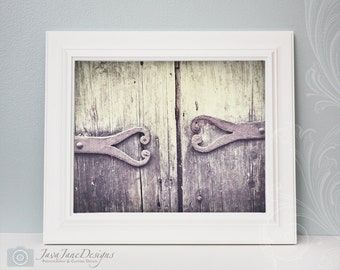 Two Hearts - New Orleans Antique Door Hinge, Purple and Grey, Love Print, 8x10 Color Print, NOLA