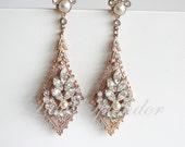 Rose Gold Wedding Earrings Chandelier Bridal Earrings Swarovski Pearl Crystal Art Deco Wedding Earrings Vintage Wedding Jewelry URSULA
