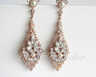 Rose Gold Wedding Earrings Chandelier Bridal Earrings Swarovski Pearl Crystal Art Deco Wedding Earrings Vintage Wedding Jewelry URSULA