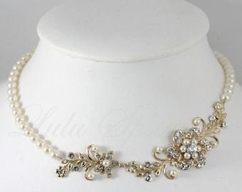 Gold Bridal Necklace Gold Wedding Jewelry Vintage Flower Leaves Swarovski Crystal Wedding Necklace Pearl Necklace SABINE GARDEN