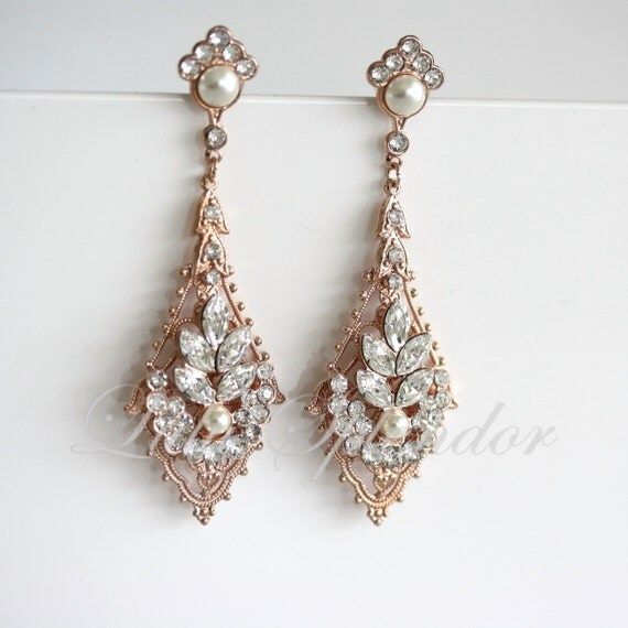 Rose Gold Wedding Earrings Chandelier Bridal Earrings