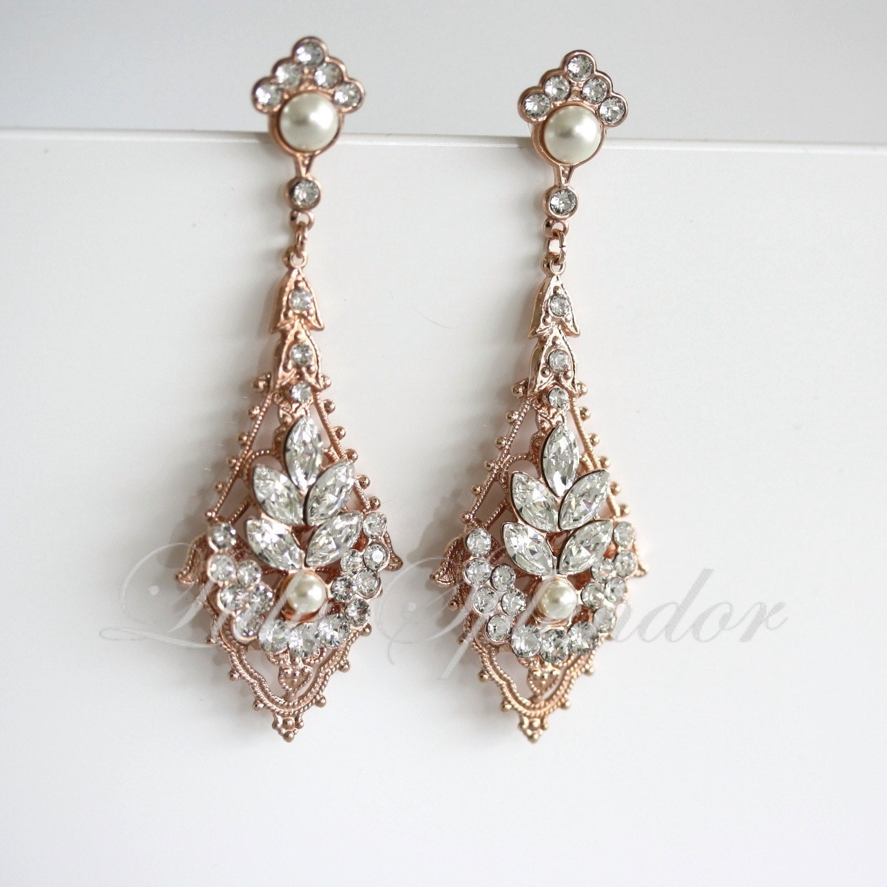 rose gold wedding earrings chandelier bridal earrings. Black Bedroom Furniture Sets. Home Design Ideas