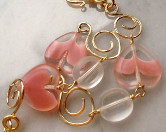 Pink Czech Glass Hearts gold bracelet Vintage beads Handmade 14k GF swirls and gold vermeil S clasp