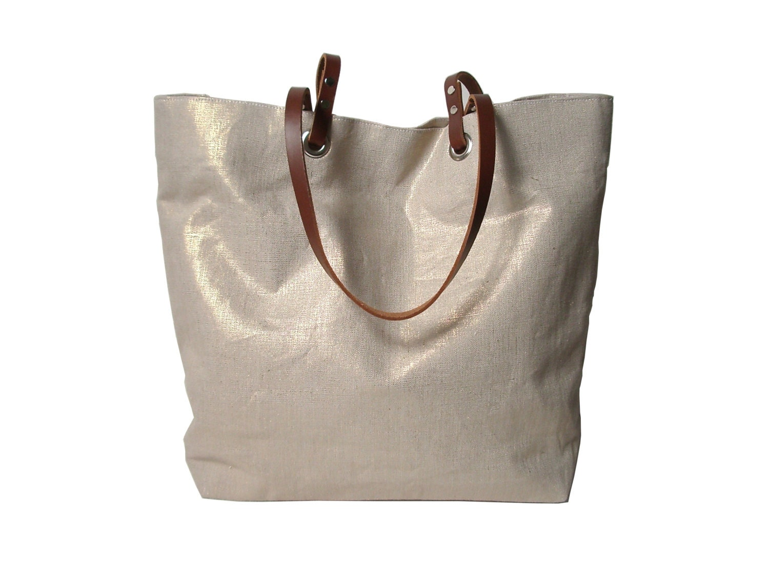 Handbag Beach Bag Metallic Gold Linen Tote Bag Vacation