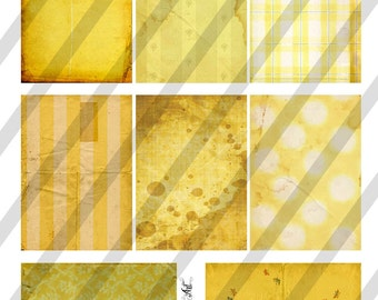 Digital Collage Sheet Vintage Yellow  Background Images (Sheet no. O170) ATC-Instant Download