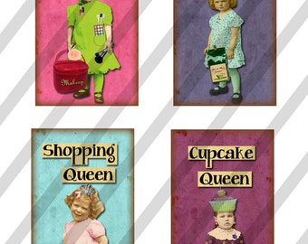 Digital Collage Sheet 1 X 2 inch Domino Sized Queens (Sheet No. FS191) Instant Download