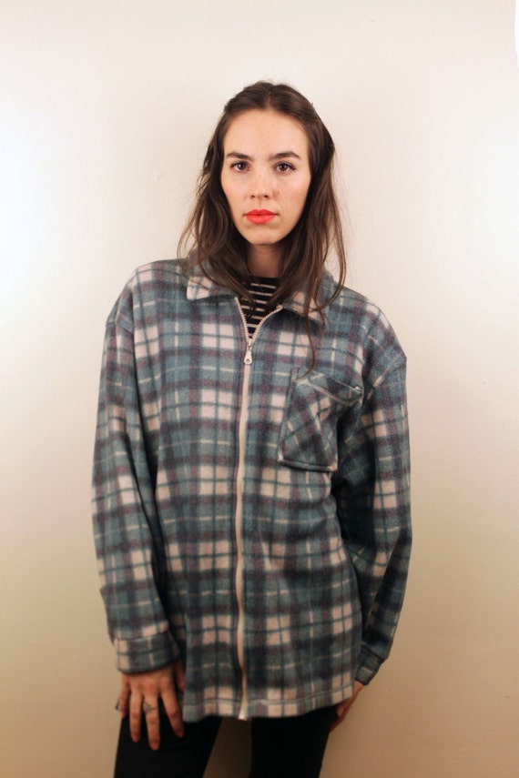 1990s Green Plaid Zip Up Jacket Size M