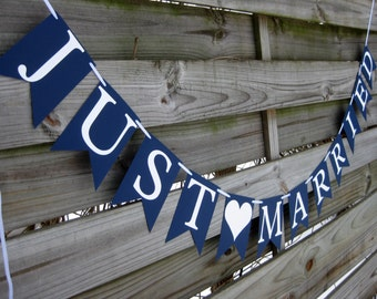 Just Married Wedding Banner - Wedding Sign in Navy Blue and White - Perfect for Nautical themed Weddings