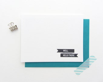 Letterpress 'Well, Hello There' Ribbon Note Cards - Pack of 8, asorted envelope color
