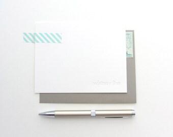 Letterpress - Blind Impression Stationery Set (twentieth century font) - 50 Qty