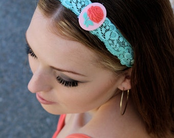 Large Red Rose Cameo Lace Headband