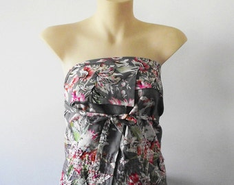 Hand Embroidered Wrap Apron Top. Origami Wrap Top, floral and hand-stitched