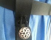 Black Leather Tankard Strap, Mug Loop, Mug Frog Button Closure Renaissance Faire SCA Pennsic LARP
