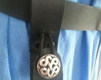 Black Leather Tankard Strap, Mug Loop, Mug Frog Button Closure Renaissance Faire SCA Pennsic LARP