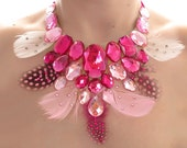 Pink Feather Statement Necklace, Rhinestone Bib Necklace, Dramatic, Bold Statement, Feather Necklace, Spotted, Sparkly Necklace