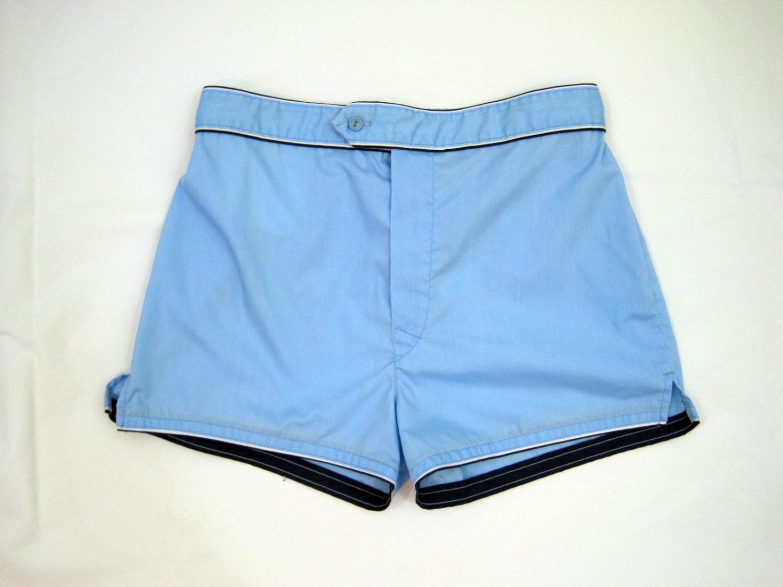 70s Shorts Mens Vintage Tennis Short Blue Piping M