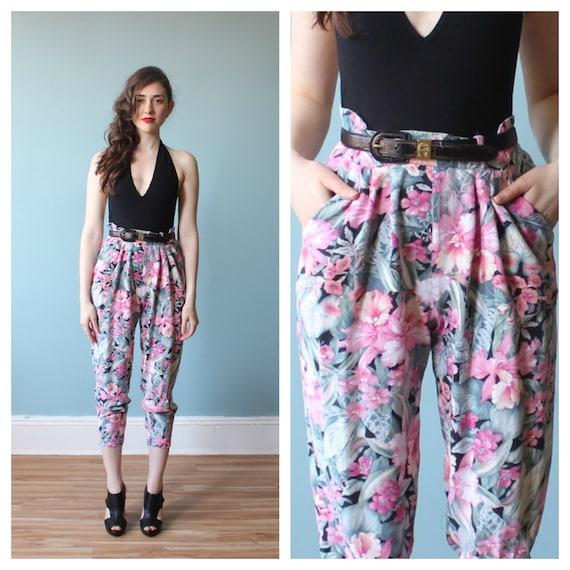 floral harem pants / 80s floral high waist pants /