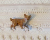 Manx Cat Brooch - Pin / OOAK 3D Tan, Brown & White Pet Cat Pin / Gift Under 10 / CLEARANCE