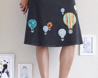 Applique Skirt . Gray Cotton Skirt .  A-line Knee Length Skirt . Foldover Pull-on Skirt - Hot air balloon ride