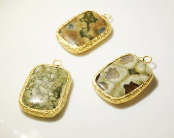 1pc- Matte Gold Plated Jasper Pendant-38x24mm (014-040GP)