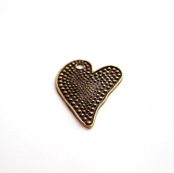 2pcs- Antique Bronze Plated Heart Pendant -50x40 mm (800-023AB)