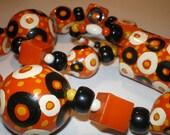 Vintage Hand Painted Beads Orange Black