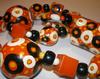 Vintage Hand Painted Beads Orange Black