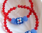 A Little Bit of Red White & Blue Hoop Earrings - Bohemian Earrings - stoneandbone