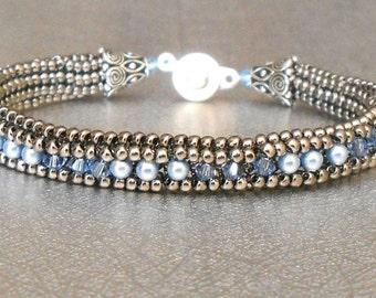 pearl and crystal beadwork bracelet