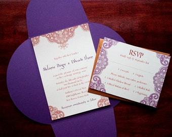 "Henna Moroccan Wedding Invitation Sample - ""Morocco"""