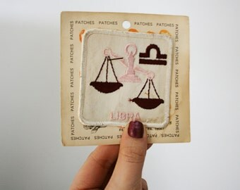 vintage 60s In The Balance Libra Zodiac Sign Astrology Sew On Patch