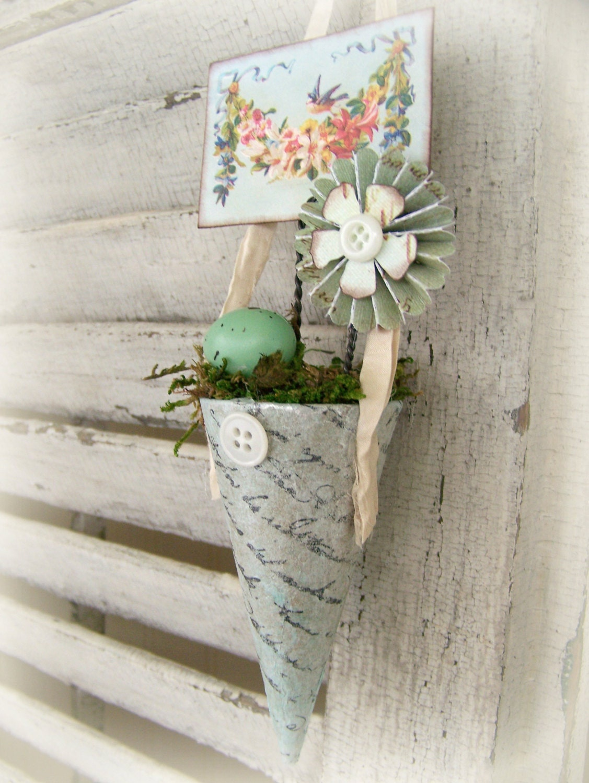 Handmade Spring Ornament Victorian Paper Cone Vintage Spring