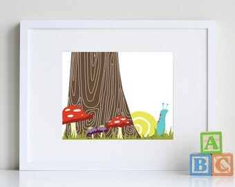 Snail Art, forest friends, woodland nursery art print by nevedobson, forrest print, snail gifts