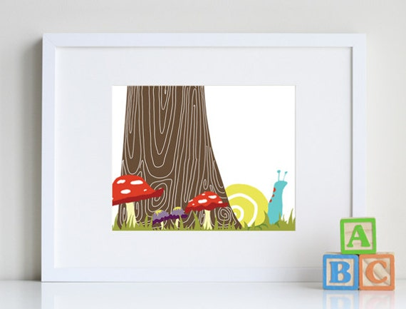 Snail Art, forest friends, woodland nursery 8 x 10 art print by nevedobson - different colors and sizes available
