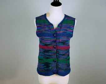 Cropped multi-colored knit cardigan / Handmade knit sweater vest