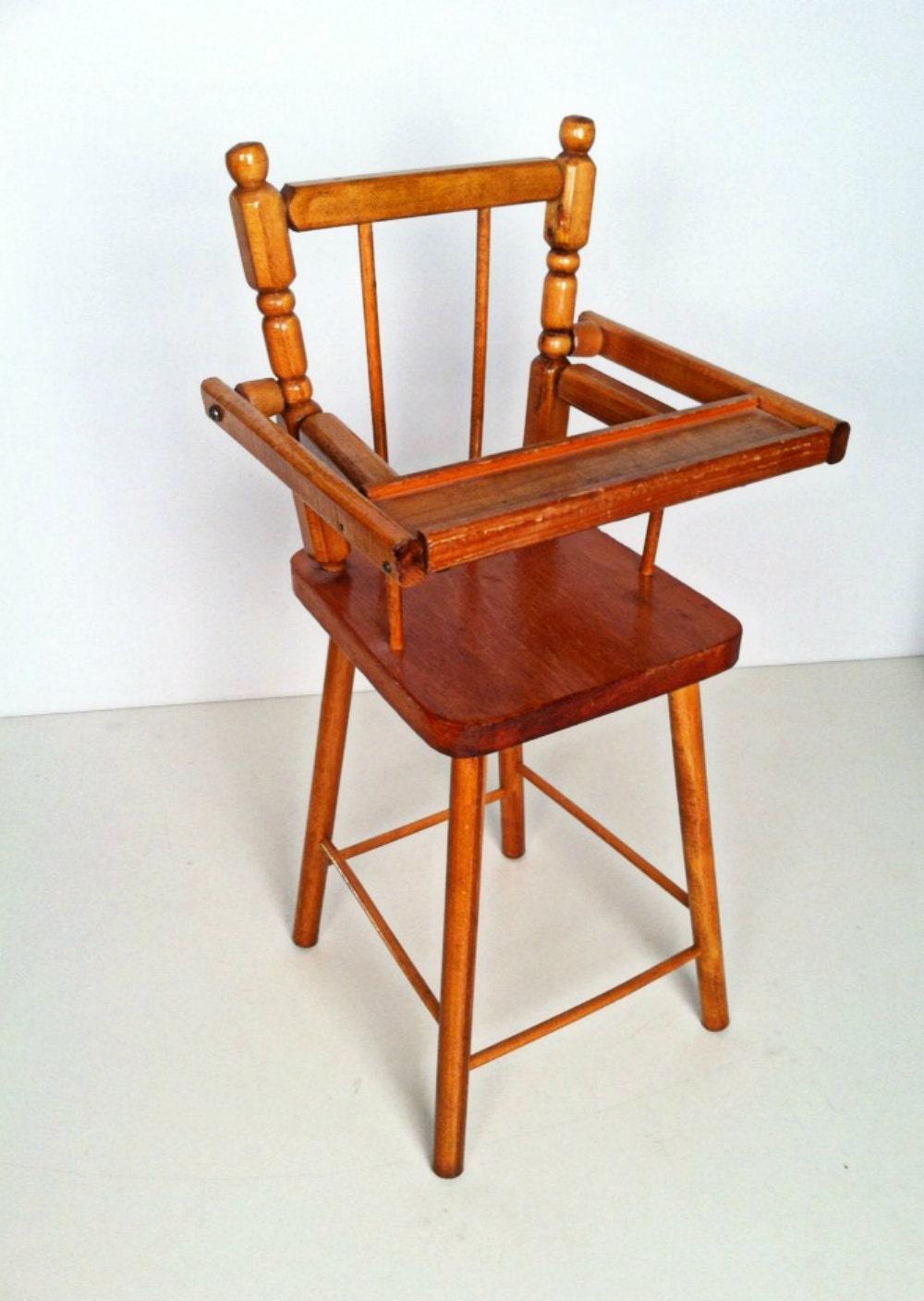 Vintage Cass Company Wood Doll High Chair