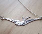 SALE - Silver Bird Necklace, Adjustable Sliding Knot, Hemp Cord, Natural Cord, Woman Accessories