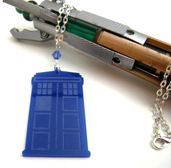 Tardis Dr. Who Jewelry, Blue Geek Swarovski Necklace. 12th Doctor Accessory, River Song Cosplay Police Box