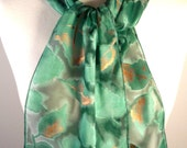 Deep Emerald Green Silk Devore Scarf with Bronze Metallic Leaves- ready to ship