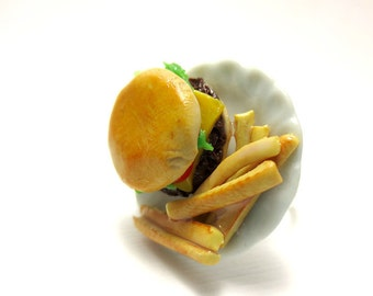 Burger and Fries Ring, Miniature Food Jewelry, Polymer Clay Food Jewelry