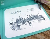 Save the Date Wedding - (100) City Skyline Cards- A2 sized (4.25 x 5.5)