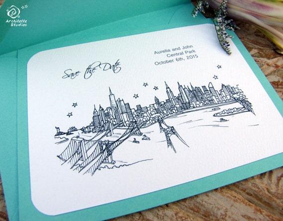 Save the Date Wedding - (100) City Skyline Cards- A2 sized (4.25 x 5.5)