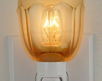 Amber Glass With Arch Pattern Small Custom Night Light