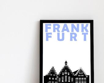 Frankfurt Print // Germany Art Travel Print // Frankfurt Poster // Frankfurt Art // German Gift // Gift for Husband // Gift for Wife