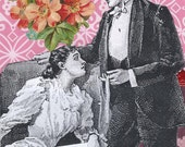 Card Romantic Pink Vintage Style Collage Art Handmade Word Art Whimsical Geekery Quirky Victorian -- They Love Karaoke