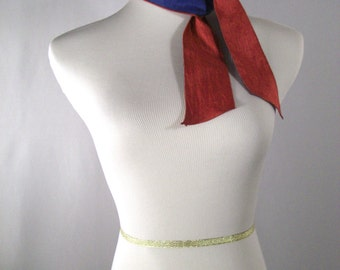 Two Toned Ponytail Scarf - Reversible Headband - Necktie - Custom Made to Order  - Red Royal Blue Multicolor  - Silky Satin