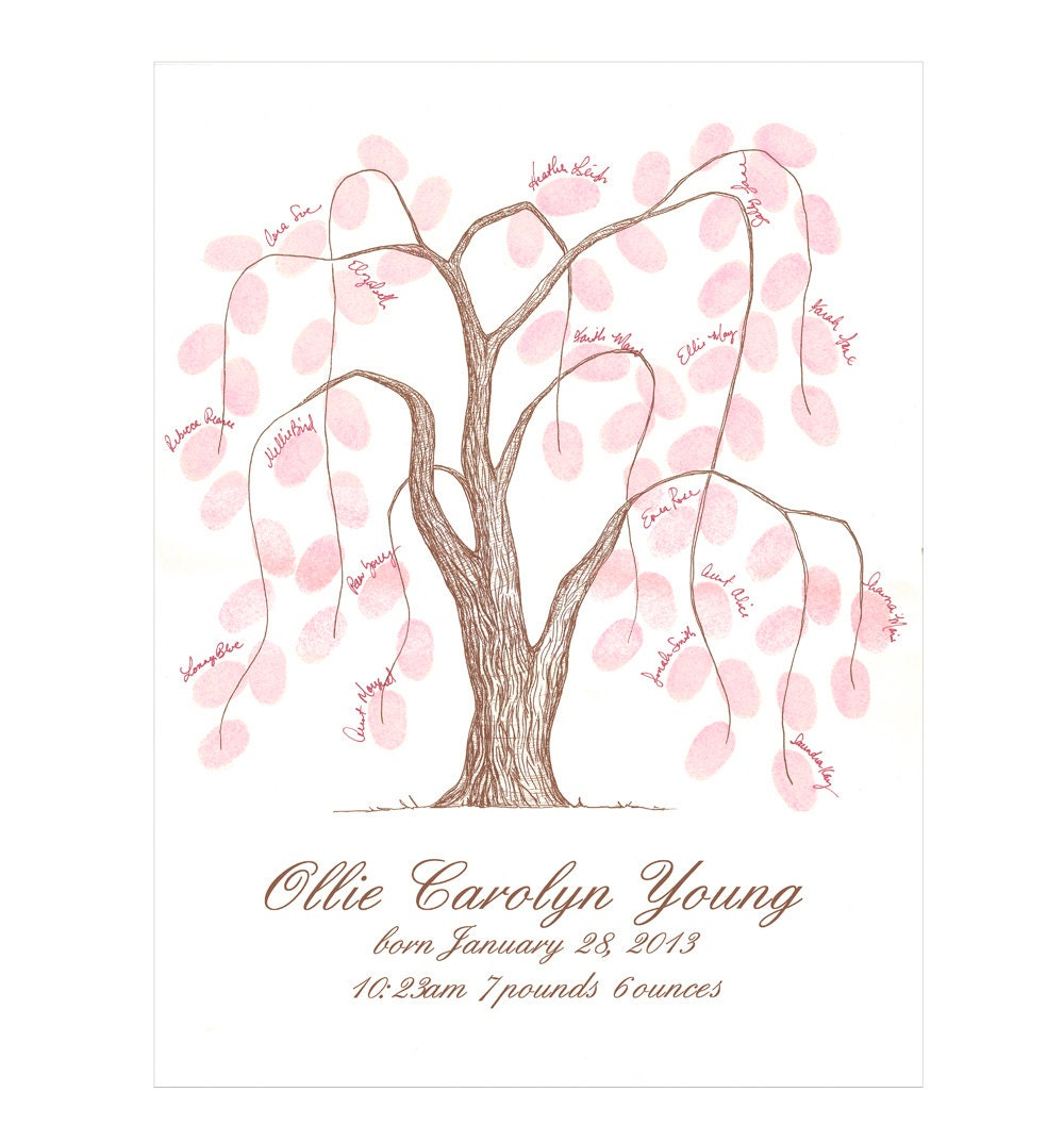 baby shower thumbprint tree guestbook poster weeping willow