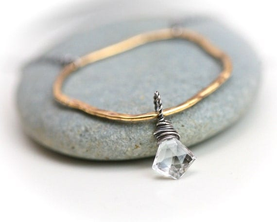 Organic Infinity Ring with Diamond Arrowhead Shaped Rock Crystal - Mixed Metal Brass Sterling Silver Hoop Necklace