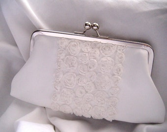 Wedding Bridal Clutch - brides clutch - Something Blue - white wedding - flower clutch - chiffon satin clutch- Ready To Ship- rosette clutch
