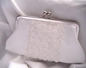 Wedding Clutch - brides clutch - Something Blue - white wedding - flower clutch - chiffon satin clutch - rosette clutch - white clutch